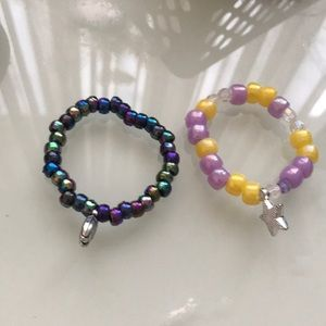 Handmade beaded girls bracelets with charms